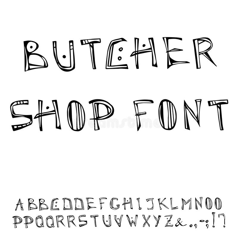 Metzger-Shop Decorative Meat-Guss, Alphabet Realistische Gekritzel-Karikatur-Art-Hand gezeichnete Skizzen-Vektor-Illustration stock abbildung