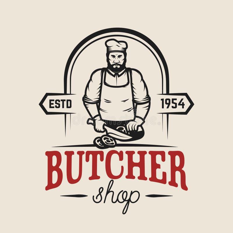 Metzger Shop Gestaltungselement für Logo, Aufkleber, Emblem, Zeichen, Plakat stock abbildung