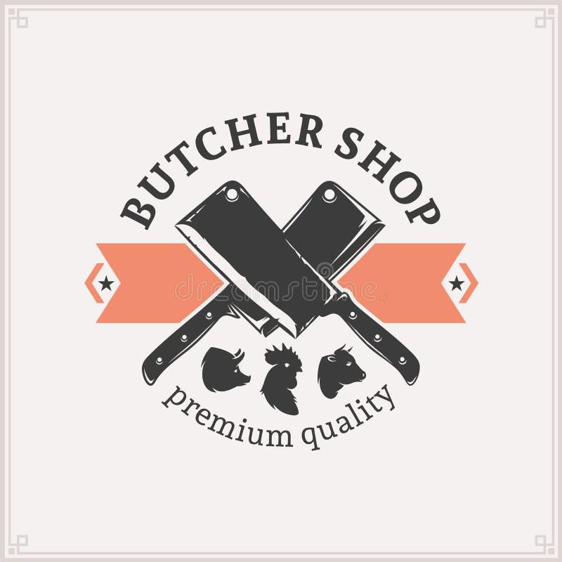 Metzger Shop Logo, Fleisch-Aufkleber-Schablone Vektor Abbildung ...