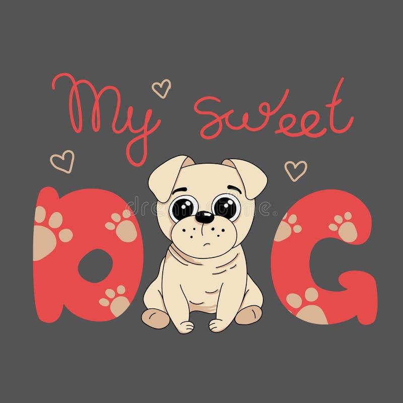 Meu cão bonito, cachorrinho do pug Ilustra??o do vetor ilustração do vetor