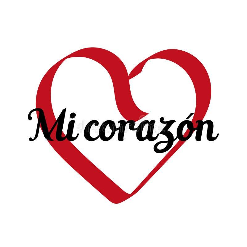 Meu coração, inscrição no espanhol ilustração royalty free