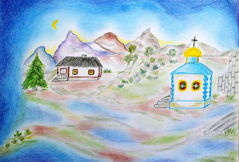 Meu desenho de uma casa de campo nas montanhas ilustração stock