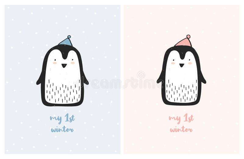 Meu grupo bonito da ilustração do vetor do berçário do primeiro inverno Pinguins pequenos doces ilustração stock