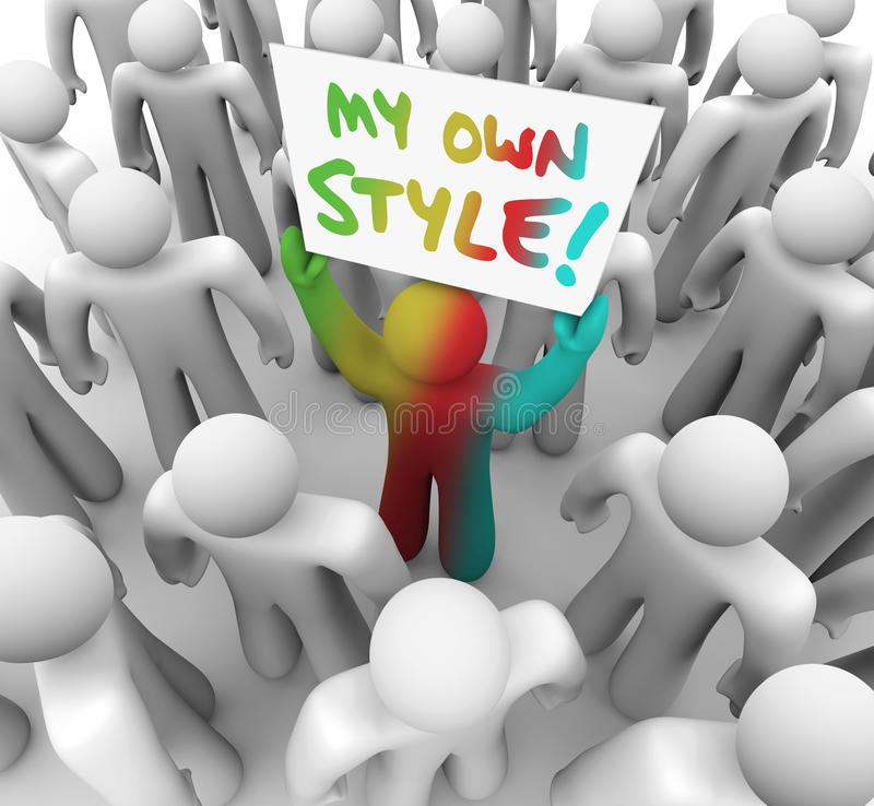 Meu próprio do estilo de Person Holding Sign Crowd Standing Un diferente para fora ilustração royalty free