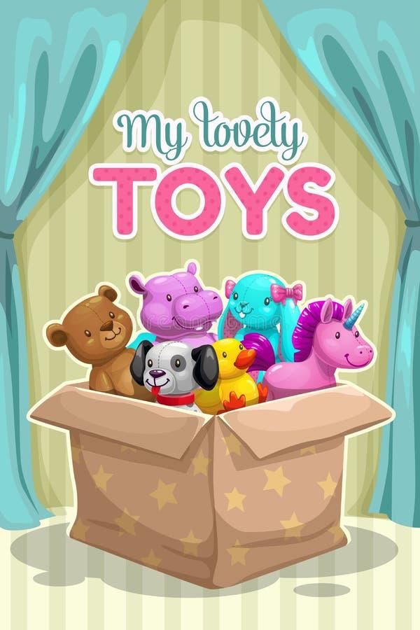 Meu primeiro brinquedo Brinquedos animais de matéria têxtil engraçada na caixa ilustração stock