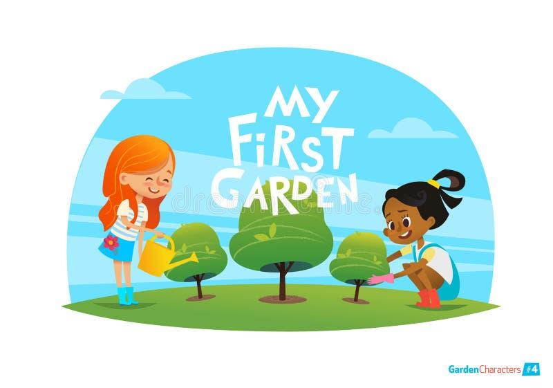 Meu primeiro conceito do jardim As crianças bonitos importam-se com plantas no quintal Educação adiantada, atividades exteriores  ilustração royalty free