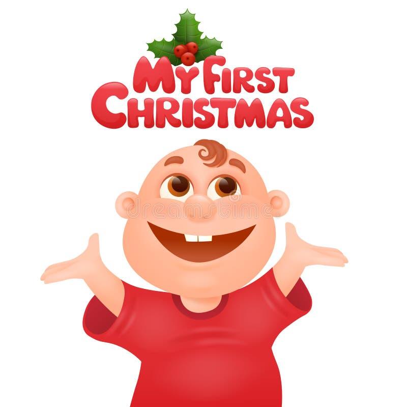Meu primeiro molde do cartão de aniversário do Natal ilustração royalty free
