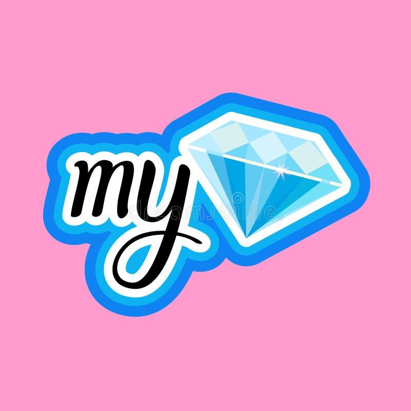 Meu projeto dos crachás da mensagem de Diamond Sticker Social Media Network ilustração stock