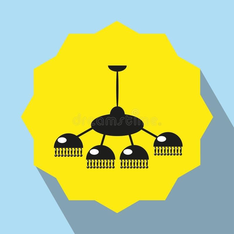 Meubels Kroonluchter Het pictogram van toestellen Zwart-wit voorwerp op een gele achtergrond royalty-vrije illustratie