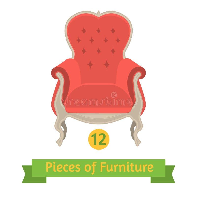 Meubilair, antiek stoel barok, vlak ontwerp royalty-vrije illustratie