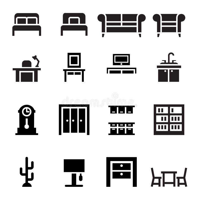 Meubilair, bank, bed, garderobe, eettafel, binnenlands ontwerp i vector illustratie