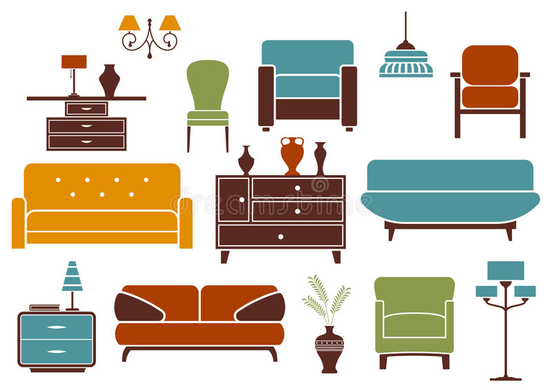 Meubilair en binnenlandse ontwerpelementen vector illustratie