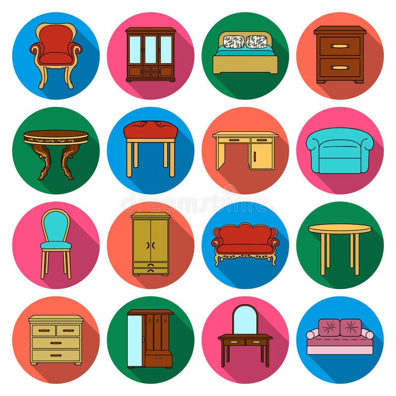 Meubilair en huis binnenlandse vastgestelde pictogrammen in vlakke stijl Grote inzameling van meubilair en huis binnenlandse vect royalty-vrije illustratie