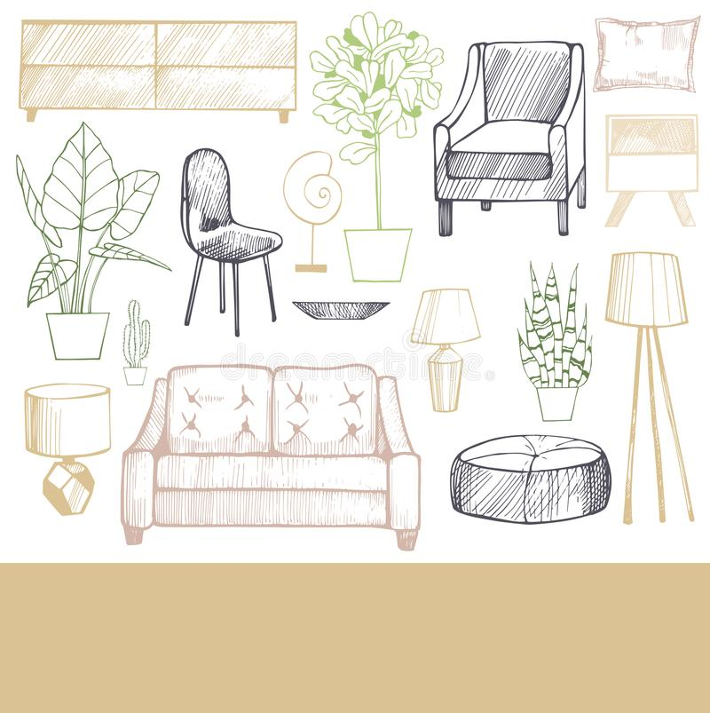 Meubilair, lampen en installaties voor het huis stock illustratie