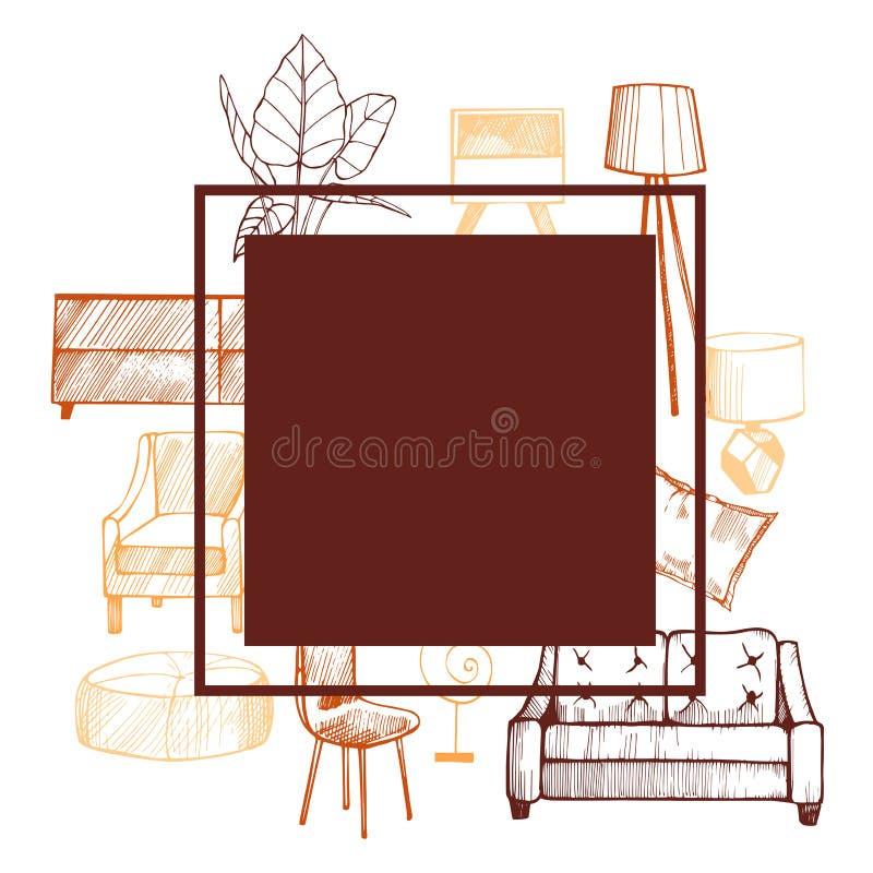 Meubilair, lampen en installaties voor het huis Vector frame stock illustratie