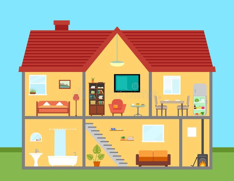 Meubilair op huis in besnoeiing met gedetailleerd leveren van ruimten stock illustratie