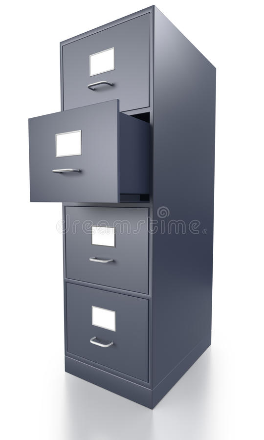 Meuble d 39 archivage gris simple avec le tiroir ouvert for Meuble bureau avec tiroirs