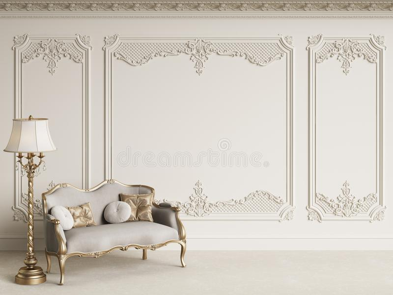 Meubles classiques dans l'intérieur classique avec l'espace de copie illustration stock