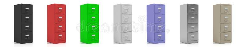 Meubles d'archivage d'isolement sur le fond blanc illustration 3D illustration stock