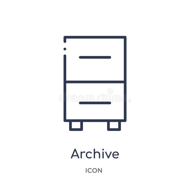 meubles d'archives d'icône de deux tiroirs de collection d'ensemble d'interface utilisateurs Ligne mince meubles d'archives d'icô illustration stock
