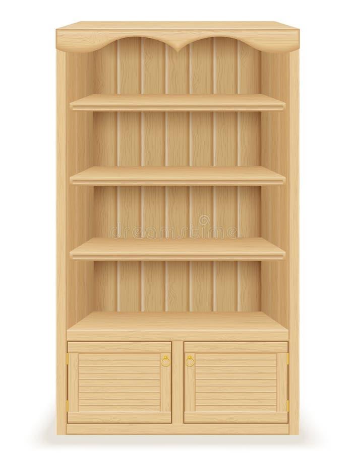 Meubles de bibliothèque faits en illustration du bois de vecteur illustration libre de droits