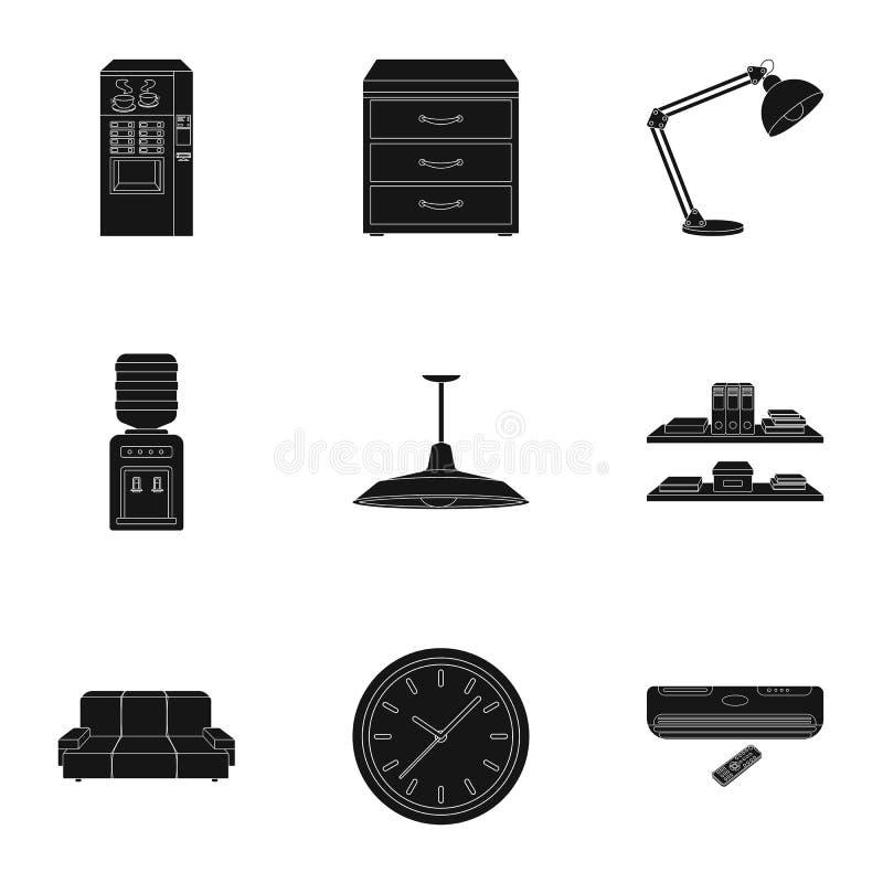Meubles de bureau et icônes réglées d'intérieur dans le style noir Grande collection des meubles de bureau et de symbole intérieu illustration de vecteur