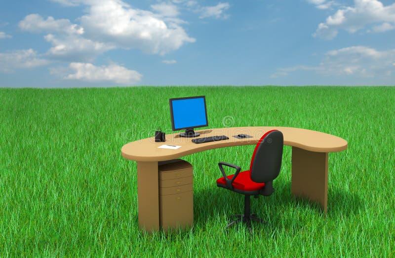 Meubles de bureau sur l'herbe image libre de droits