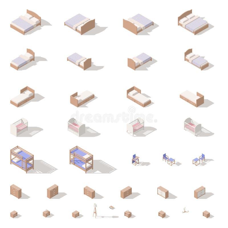 Meubles de chambre à coucher et de pièce d'enfants, bas poly ensemble isométrique d'icône illustration stock