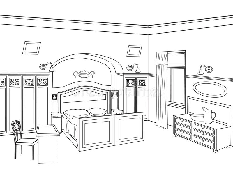 Meubles de chambre à coucher intérieur de pièce dans le rétro style illustration libre de droits