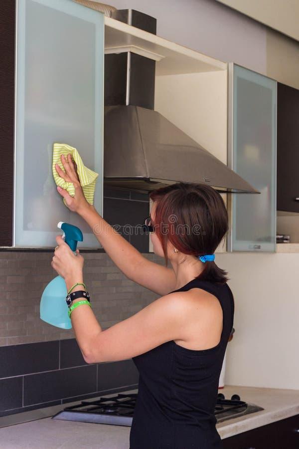 Meubles de nettoyage de jeune fille dans la cuisine images libres de droits