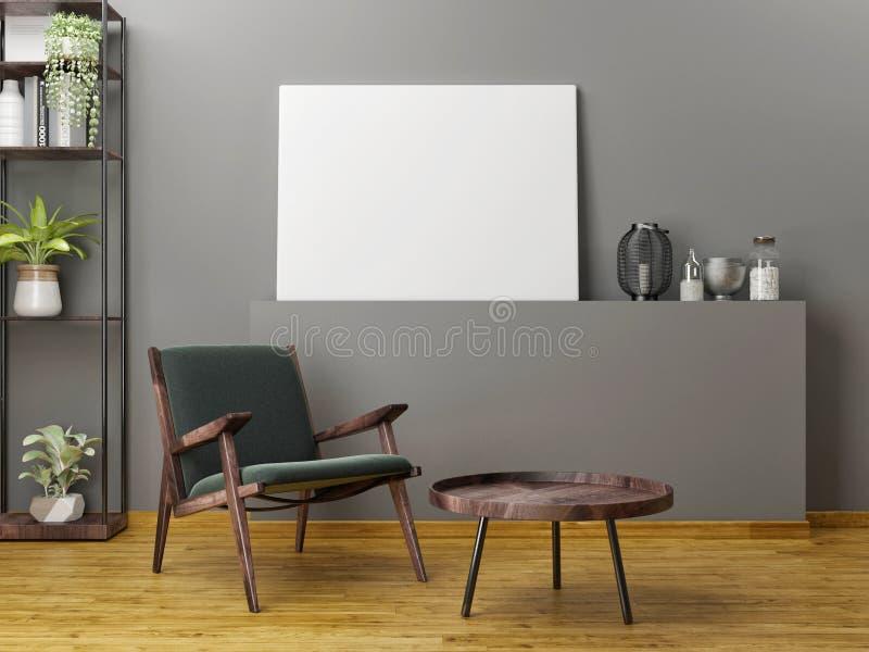 Meubles en bois avec la moquerie vers le haut de l'affiche, images stock