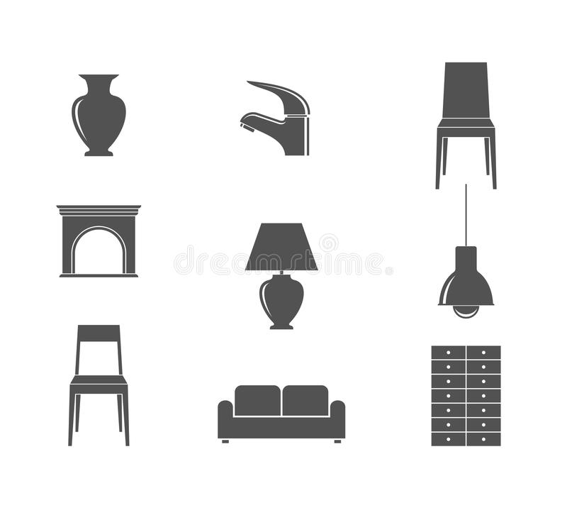 meubles Ensemble d'icône illustration stock