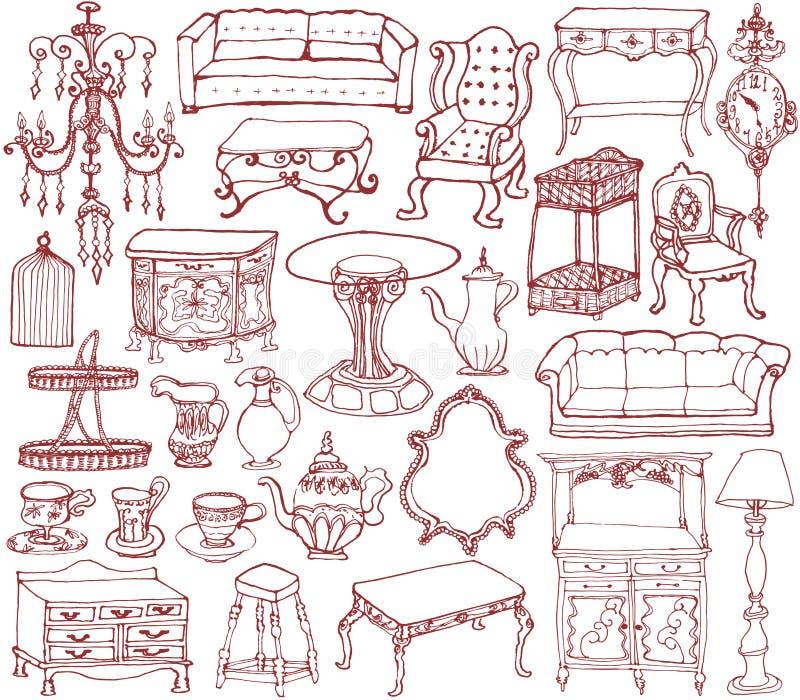 Meubles et accessoires de vintage illustration de vecteur