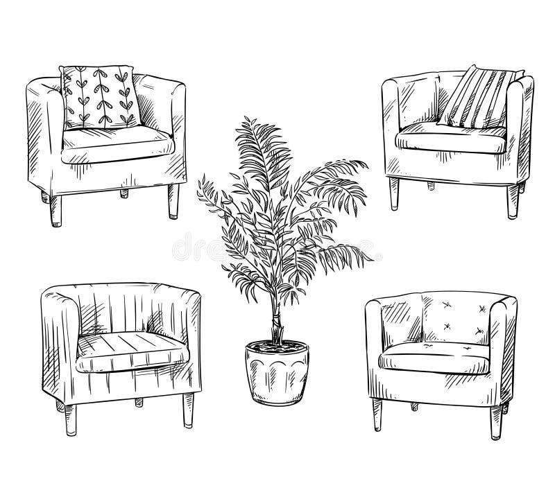 meubles Fauteuils et ilustration de vecteur de pot de fleurs illustration libre de droits