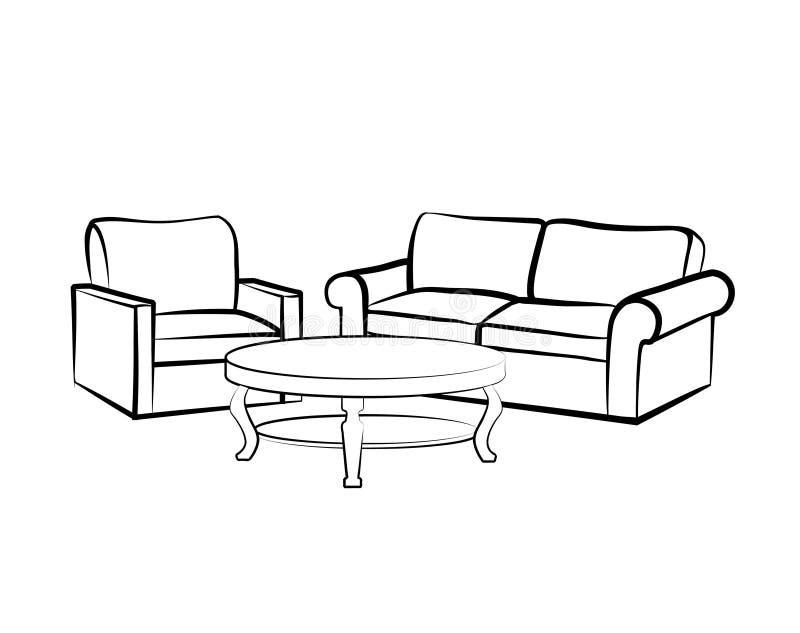 Meubles intérieurs à la maison avec le fauteuil, table, sofa illustration libre de droits