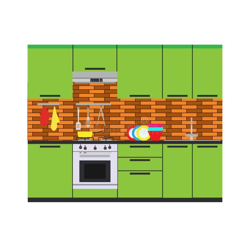 Meubles intérieurs d'illustration de maison de pièce de vecteur de cuisine plats illustration libre de droits