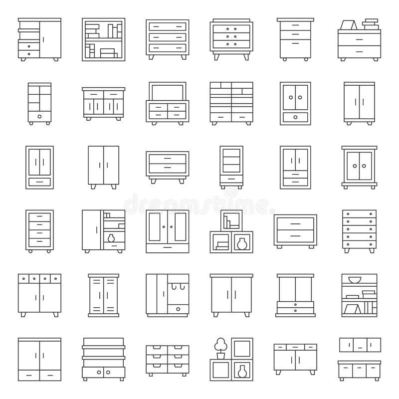 Meubles intérieurs de placard et de coffret, ensemble d'icône d'ensemble illustration stock