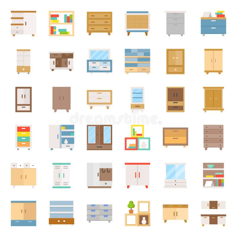 Meubles intérieurs de placard et de coffret, ensemble plat d'icône illustration libre de droits