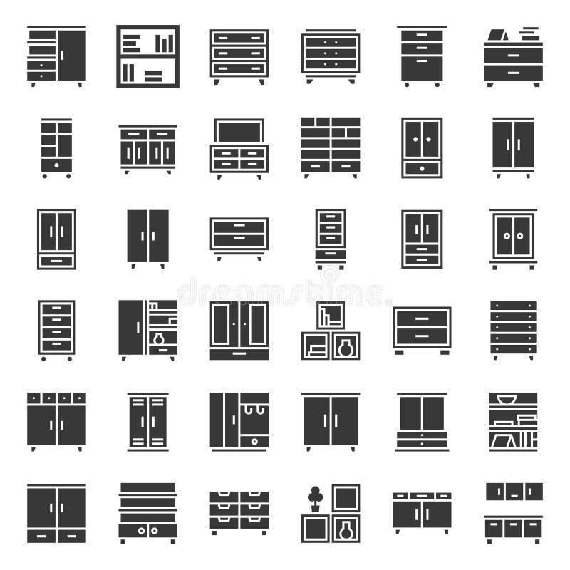 Meubles intérieurs de placard et de coffret, ensemble solide d'icône illustration stock