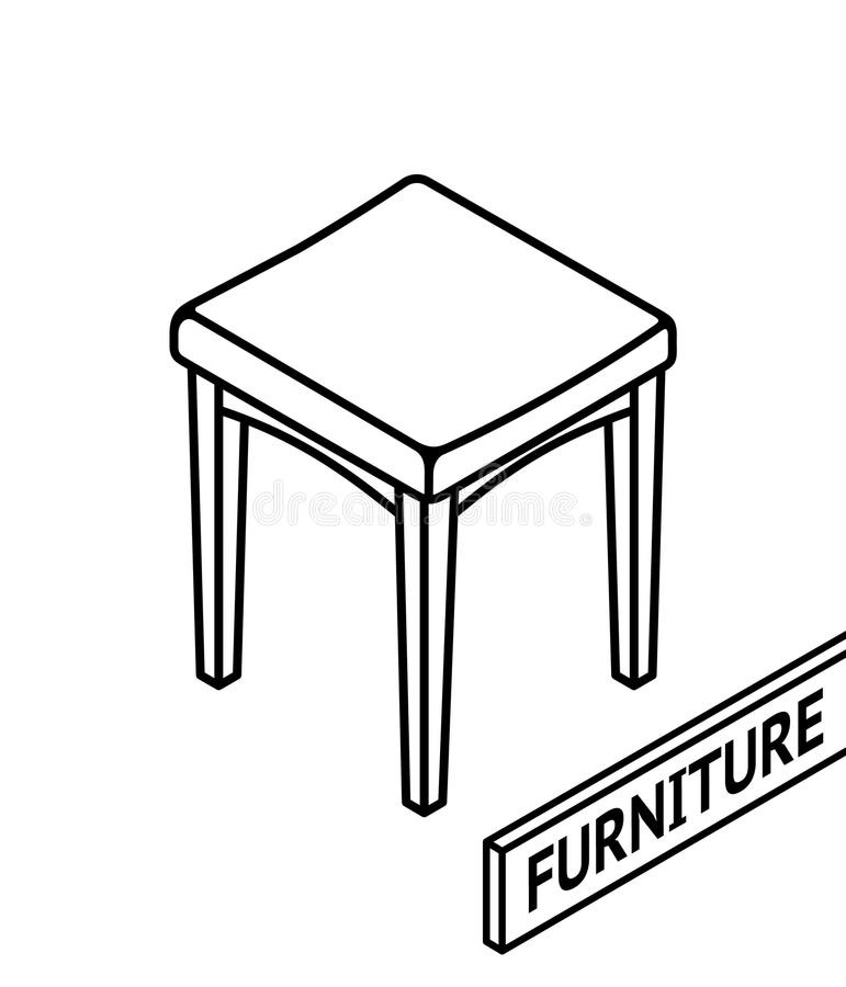 Meubles isométriques d'ensemble 3D ligne tabouret isométrique dessiné Fond blanc illustration stock