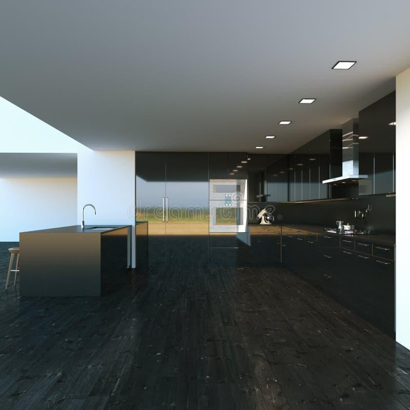 Meubles modernes noirs de cuisine dans le grand intérieur 3d rendent illustration libre de droits