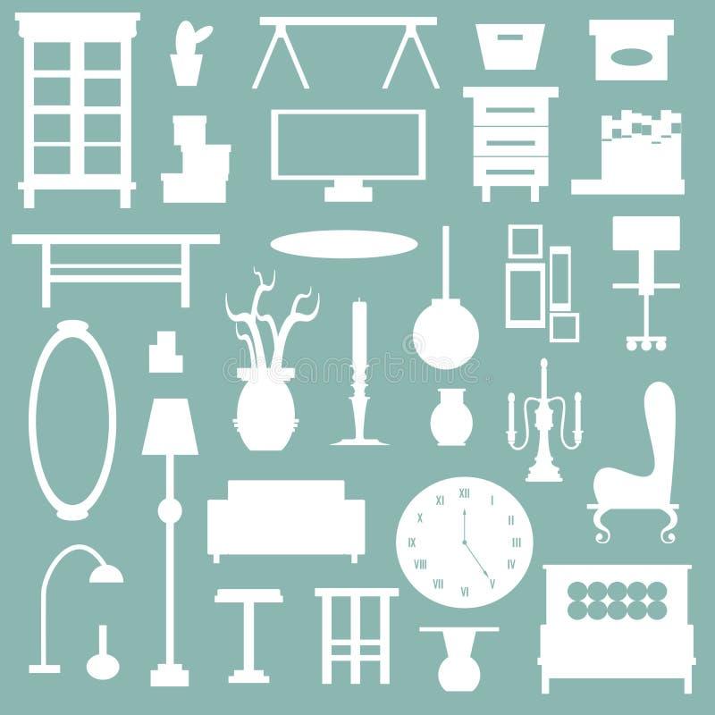 meubles plats d 39 appareil m nager et ic ne de d coration int rieure illustration de vecteur. Black Bedroom Furniture Sets. Home Design Ideas
