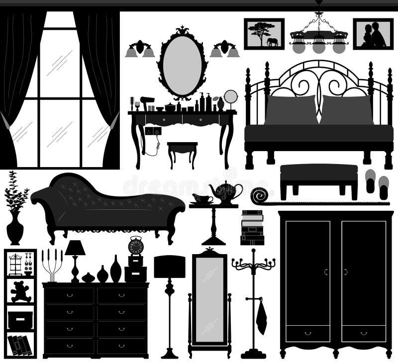 Meubles réglés de conception intérieure de chambre à coucher illustration de vecteur