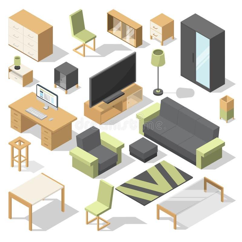 Meubles réglés pour la pièce de lit Éléments isométriques de vecteur pour la maison moderne illustration stock