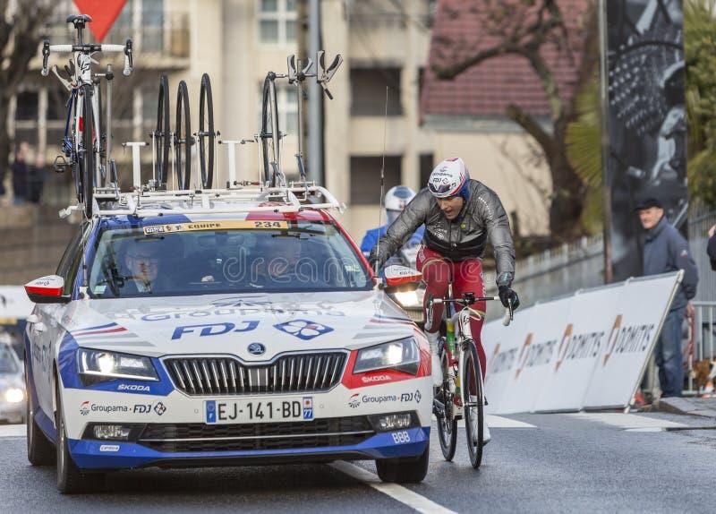Cycling Teamwork - Paris-Nice 2018 stock photo