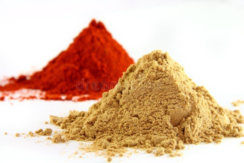 A meulé le gingembre et le paprika photos stock
