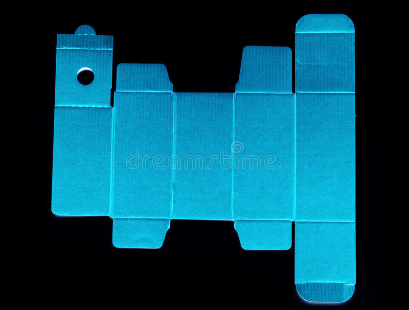 Meurent la ligne calibre d'une boîte en carton bleue photographie stock libre de droits