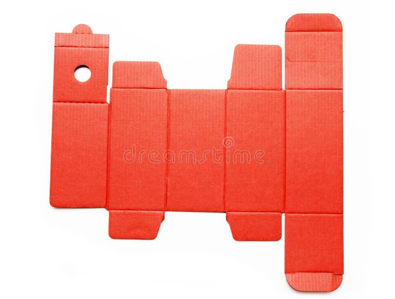 Meurent la ligne calibre d'une boîte en carton rouge photos stock