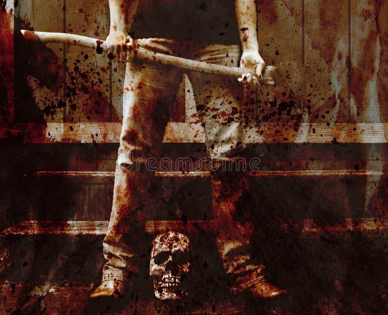 Meurtrier sanglant de hache image libre de droits