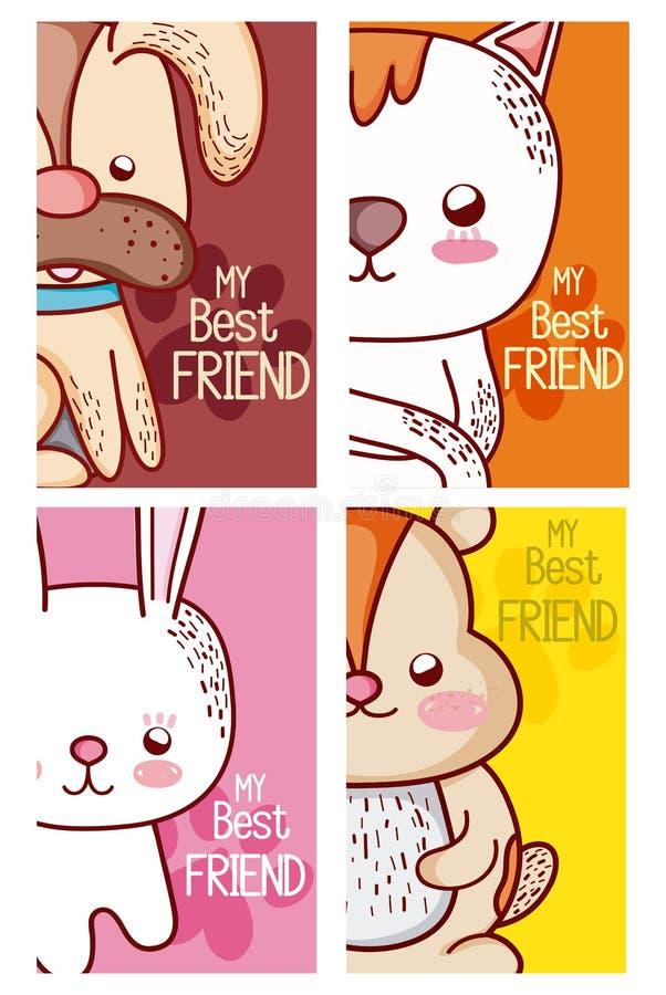 Meus desenhos animados dos animais de estimação dos melhores amigos ilustração stock
